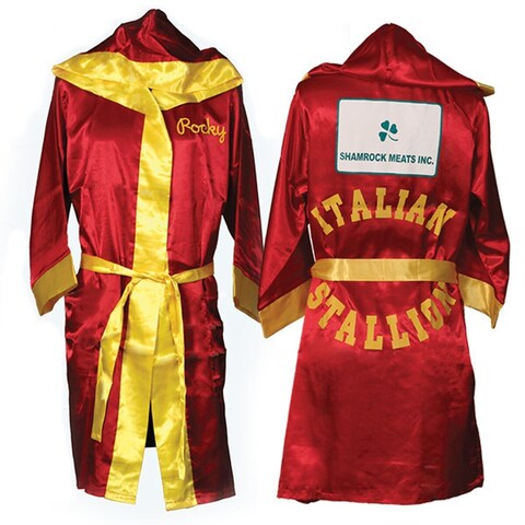 Italian Stallion Rocky Robe Movie Shamrock Meats Hood Red Boxer Balboa Costume