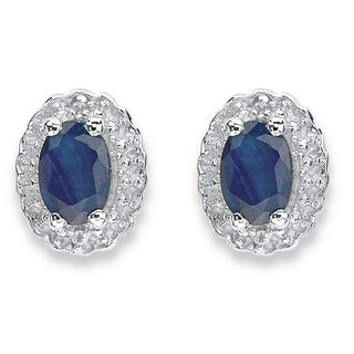 PalmBeach 1 1/3 TCW Genuine Oval Blue Sapphire and Topaz Stud Earrings in Rhodium-Plated Sterling Silver