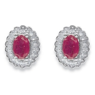 PalmBeach Sterling Silver Ruby and Topaz Halo Stud Earrings