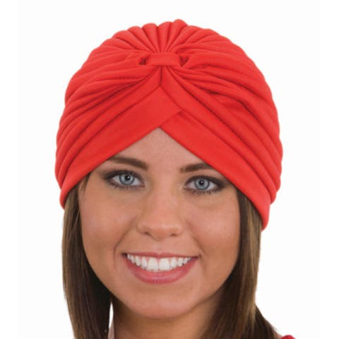 Red Spandex Pleated Turban Adult Psychic Genie Fortune Teller Hat