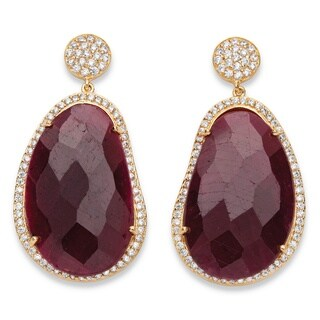 PalmBeach 14k Yellow Goldplated Ruby and Pave Cubic Zirconia Drop Earrings