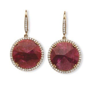 28 7/8ct TCW Genuine Hand-Cut Round Ruby and Pave CZ Halo Earrings in 14k Gold over Sterli