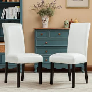 Porch Den Botanical Heights Lawrence Solid Wood Leatherette Padded Parson Chair Set Of 2