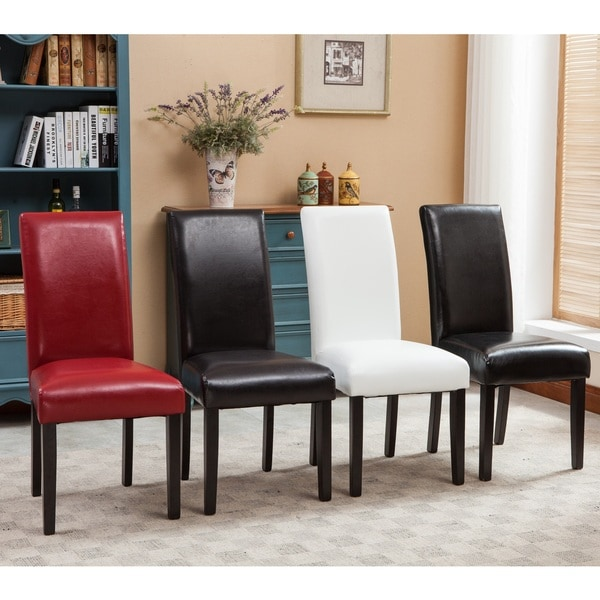 Dining Chair Set 2 Pair Accent Tufted Kitchen Modern Side: Donatello Urban Style Solid Wood Leatherette Padded Parson