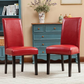 Porch & Den Botanical Heights Lawrence Solid Wood Leatherette Padded Parson Chair (Set of 2) (4 options available)