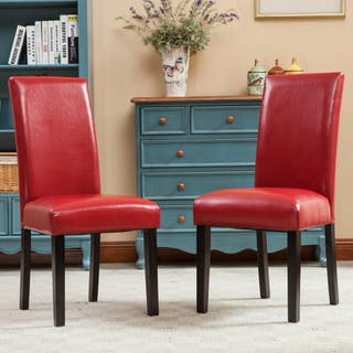 red dining room chairs. Porch  Den Botanical Heights Lawrence Solid Wood Leatherette Padded Parson Chair Set of 2 Red Kitchen Dining Room Chairs For Less Overstock com