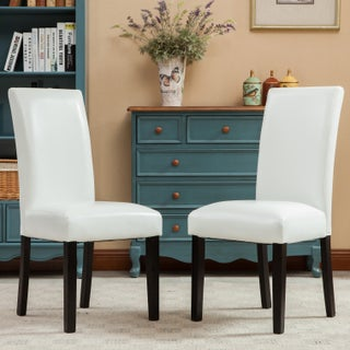 Porch & Den Botanical Heights Lawrence Solid Wood Leatherette Padded Parson Chair (Set of 2)