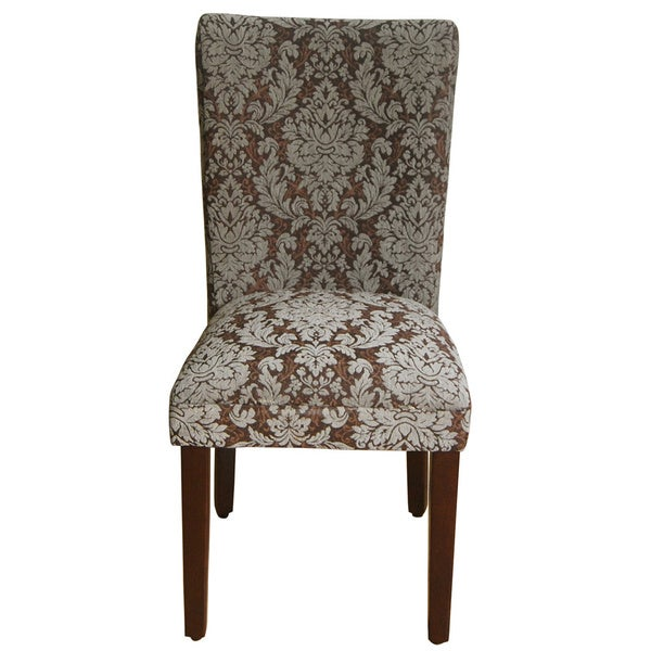 Damask Brown Fabric Parsons Chair, Set Of 2   Free Shipping Today    Overstock.com   17915280