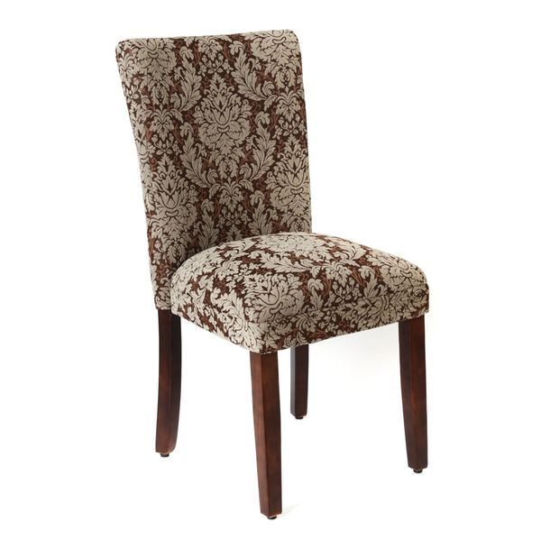 Damask Brown Fabric Parsons Chair, Set Of 2