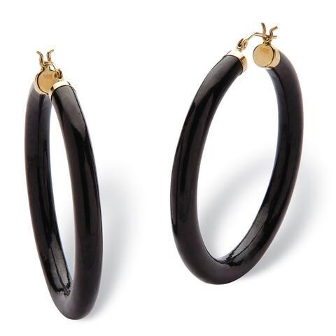 Genuine Black Jade Hoop Earrings in 14k Yellow Gold (45mm) Naturalist