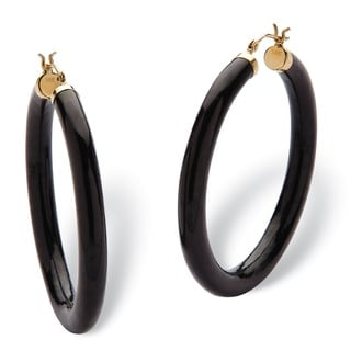 PalmBeach Genuine Black Jade Hoop Earrings in 14k Yellow Gold (45mm) Naturalist