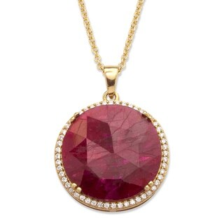 23 7/8ct TCW Genuine Hand-Cut Round Ruby and Pave CZ Necklace in 14k Gold over Sterling Si
