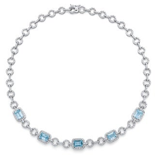 12ct TCW Genuine Emerald-Cut Blue Topaz and Diamond Accent Halo Necklace in Silvertone 17-