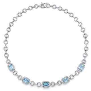 12ct TCW Genuine Emerald-Cut Blue Topaz and Diamond Accent Halo Necklace in Silvertone 17-