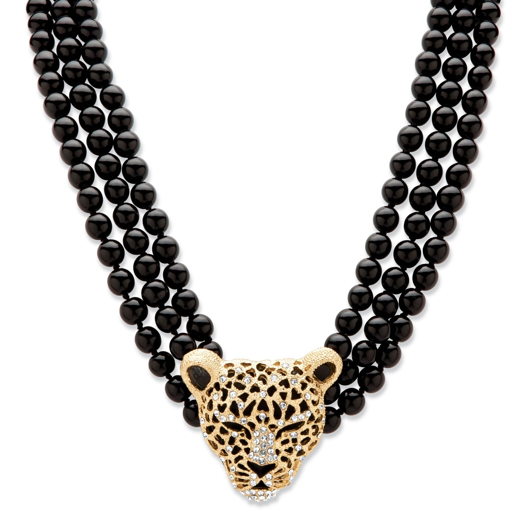 Palm Beach Genuine Onyx and Crystal Leopard Beaded Neckla...