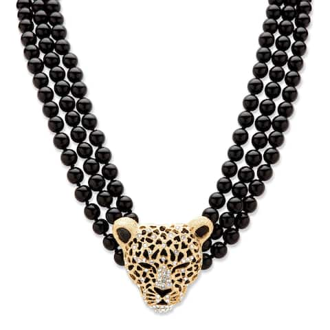 "Gold Tone Leopard Beaded Collar Necklace (49mm), Round Crystal, 20"" plus 2"" extension"