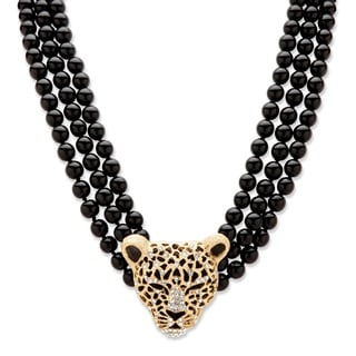Genuine Onyx and Crystal Leopard Beaded Necklace in Yellow Gold Tone Bold Fashion