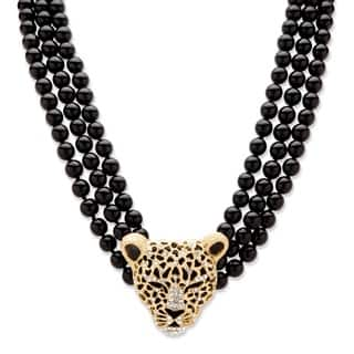 Genuine Onyx and Crystal Leopard Beaded Necklace in Yellow Gold Tone Bold Fashion|https://ak1.ostkcdn.com/images/products/10879005/P17915297.jpg?impolicy=medium