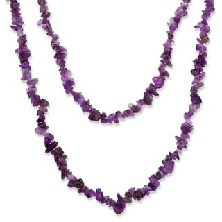 "PalmBeach Nugget-Cut Genuine Purple Amethyst Necklace 54"" Naturalist"
