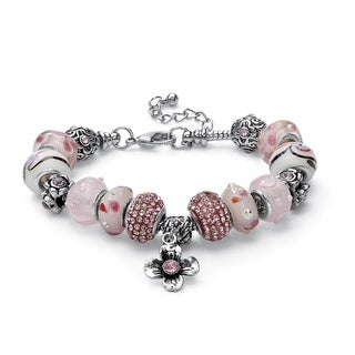 PalmBeach Round Pink Crystal Silvertone Bali-Style Beaded Charm and Spacer Bracelet 8-inch Color Fun