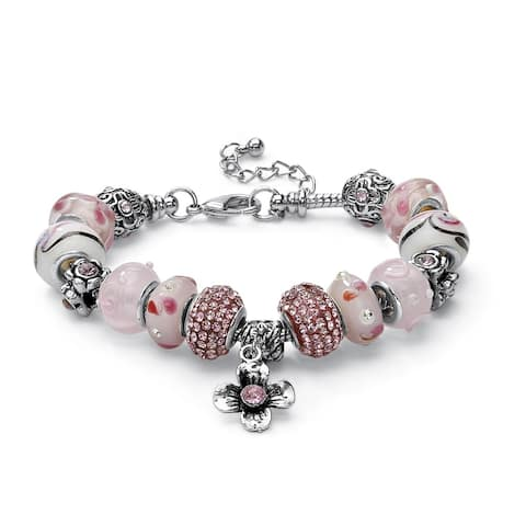 Round Pink Crystal Silvertone Bali-Style Beaded Charm and Spacer Bracelet 8-inch Color Fun
