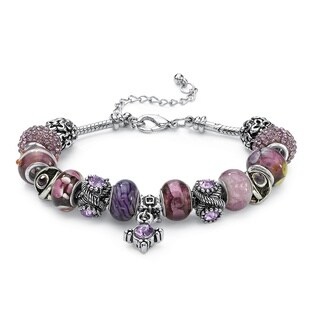 "Round Purple Crystal Silvertone Bali-Style Beaded Charm and Spacer Bracelet 8"" Color Fun"
