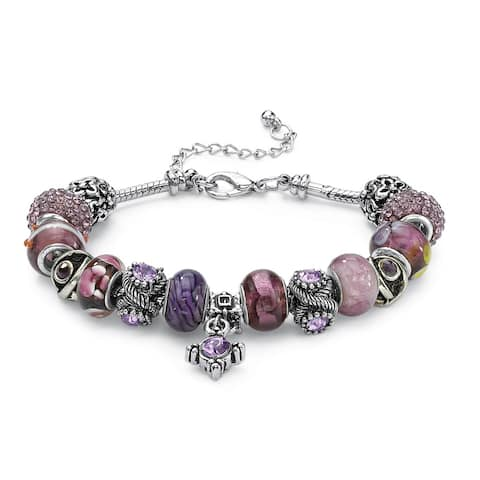 """Round Purple Crystal Silvertone Bali-Style Beaded Charm and Spacer Bracelet 8"""" Color Fun"""