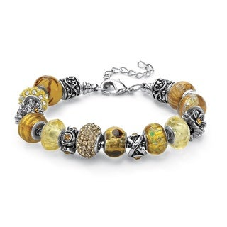 "Round Amber Crystal Bali-Style Beaded Charm and Spacer Bracelet in Silvertone 8"" Color Fun"