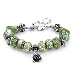 "PalmBeach Green Crystal Bali-Style Beaded Charm and Spacer Bracelet in Silvertone 8"" Color Fun"