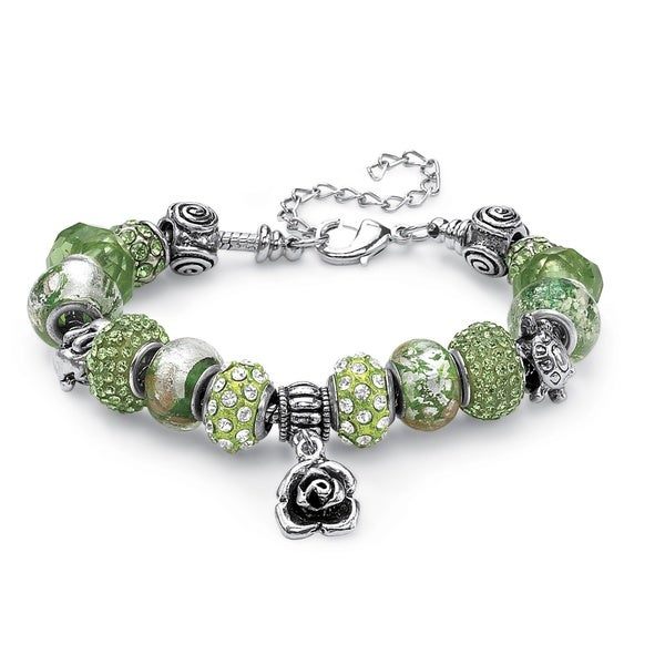 "Green Crystal Bali-Style Beaded Charm and Spacer Bracelet in Silvertone 8"" Color Fun"