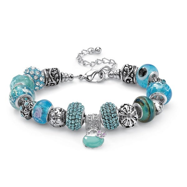 "Round Blue Crystal Bali-Style Beaded Charm Bracelet in Silvertone 8"" Color Fun"