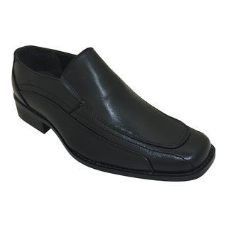 Men's Black Slip On Stitching Detail Oxford Dress Shoe