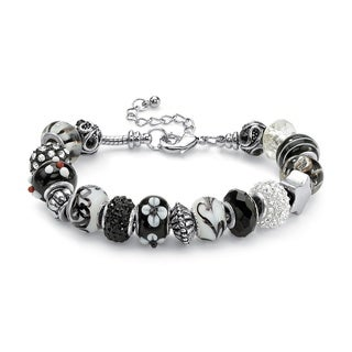 "PalmBeach Round Black and White Crystal Silvertone Bali-Style Beaded Charm and Spacer Bracelet 8"" Color Fun"