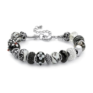 "Round Black and White Crystal Silvertone Bali-Style Beaded Charm and Spacer Bracelet 8"" Co"