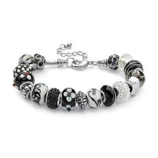 "Round Black and White Crystal Silvertone Bali-Style Beaded Charm and Spacer Bracelet 8"" Co