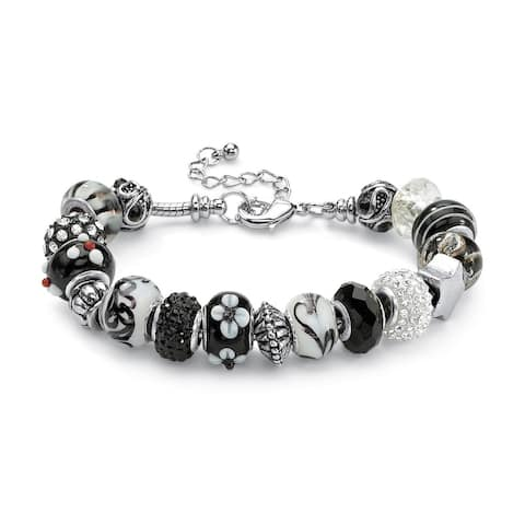 """Round Black and White Crystal Silvertone Bali-Style Beaded Charm and Spacer Bracelet 8"""" Co"""