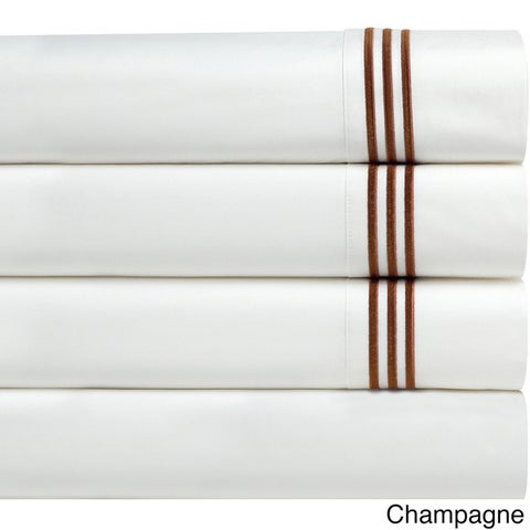 Pointehaven Egyptian Cotton Embroidered Percale Pillowcases (Set of 2)