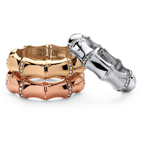 Three-Piece Set of Crystal Bamboo Hinged Bangle Bracelets in Silvertone, Gold Tone, and Ro