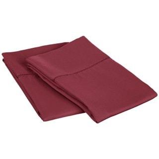 Superior Cotton Blend 600 Thread Count Hem Stitch Solid Pillowcases (Set of 2)