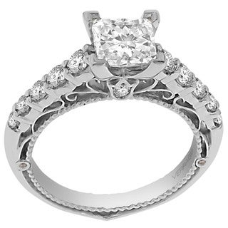Verragio 18k White Gold 1/2ct TDW Diamond and CZ Center Semi Mount Ring (F-G, VS1-VS2)