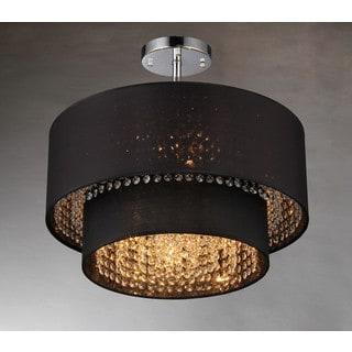 Hazel 6-light Black Fabric 21-inch Chrome Chandelier