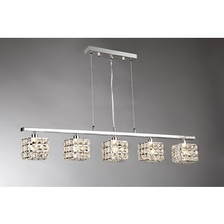 Sandra 5-light Crystal 34-inch Chrome Chandelier