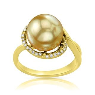 Radiance Pearl 14k Gold Golden South Sea Pearl and Diamond Accent Ring