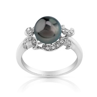 Radiance Pearl 14k Gold Tahitian South Sea Pearl and Diamond Accent Ring (8mm)