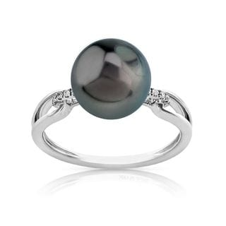 Radiance Pearl 14k Gold Tahitian South Sea Pearl and Diamond Accent Ring