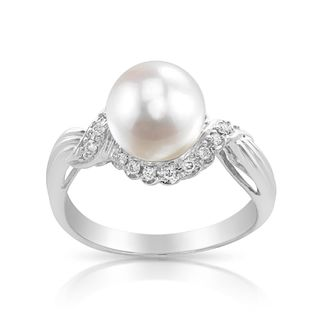 Radiance Pearl 14k Gold White Akoya Pearl and Diamond Accent Ring