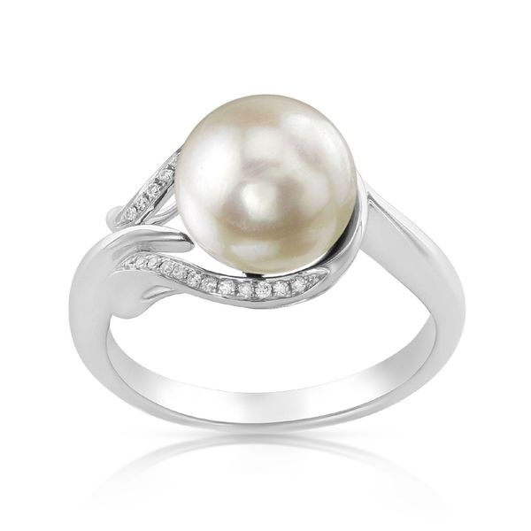 Radiance Pearl 14k Gold White Akoya Pearl and Diamond Accent Ring. Opens flyout.