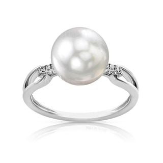 Radiance Pearl 14k Gold White South Sea Pearl and Diamond Accent Ring (9mm)