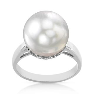 Radiance Pearl 14k Gold White South Sea Pearl Ring (Option: 6.5)