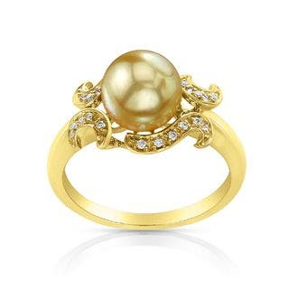 Radiance Pearl 14k Gold Golden South Sea Pearl and Diamond Accent Ring|https://ak1.ostkcdn.com/images/products/10879289/P17915616.jpg?impolicy=medium